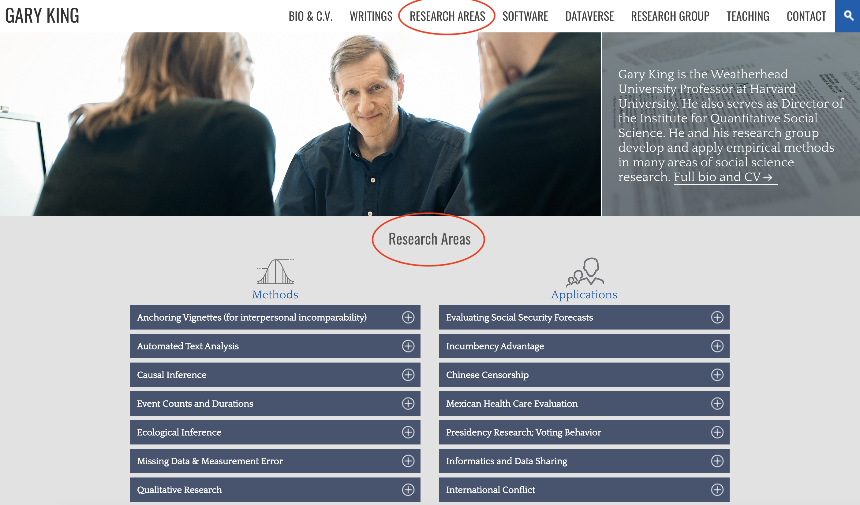 faculty website showcasing research