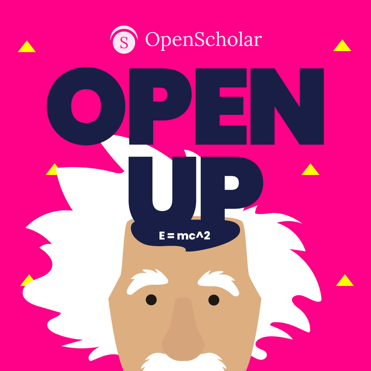 OpenScholar OpenUP logo with Albert Einstein caricature