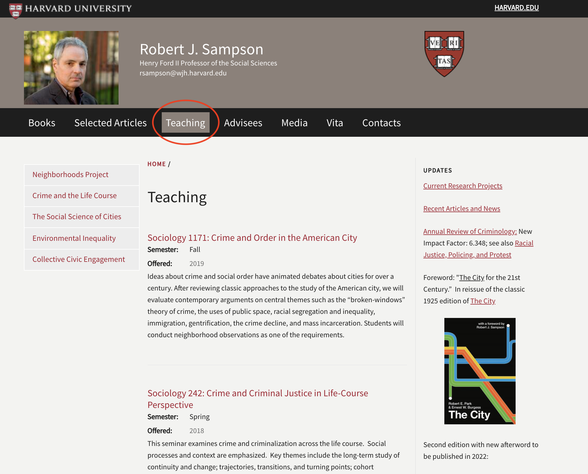 faculty website showcasing teaching section